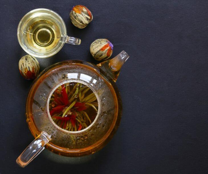 Стеклянный заварочник для чая сверху