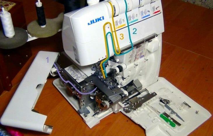 Схема заправки нитей в распошивальную машину