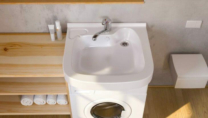 Стиральная машина под раковину в ванной