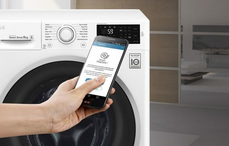 Опция Smart Diagnosis в стиральных машинах LG