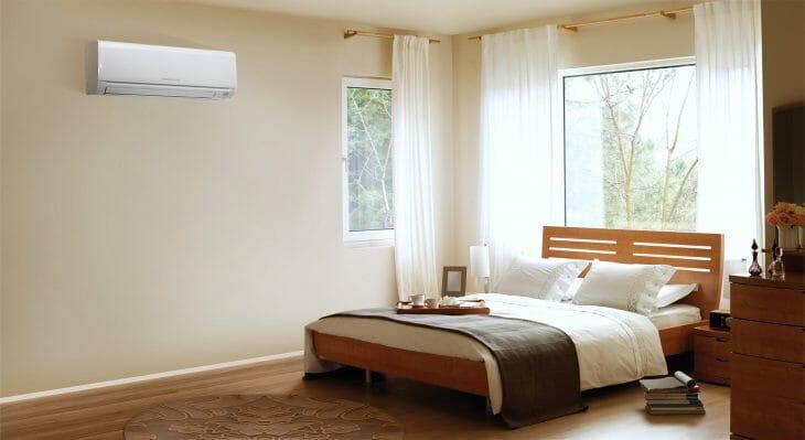 Сплит система Mitsubishi Electric в спальне