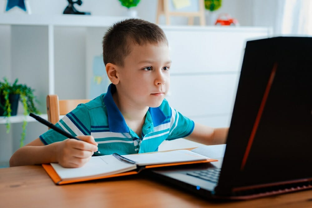 Мальчик занимается за ноутбуком